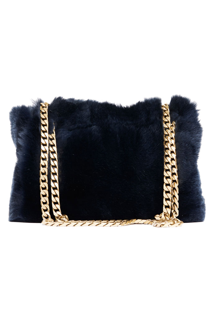 BOYY Blue Fur Shoulder Bag