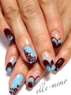 Baby Blue Chocolate Nail Design