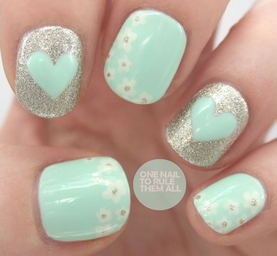 Babyblue and Silver Nail Design