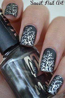 Baroque Silver Nail Design