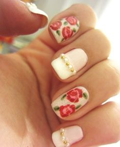 Beautiful Embellished Rose Nail Art Design