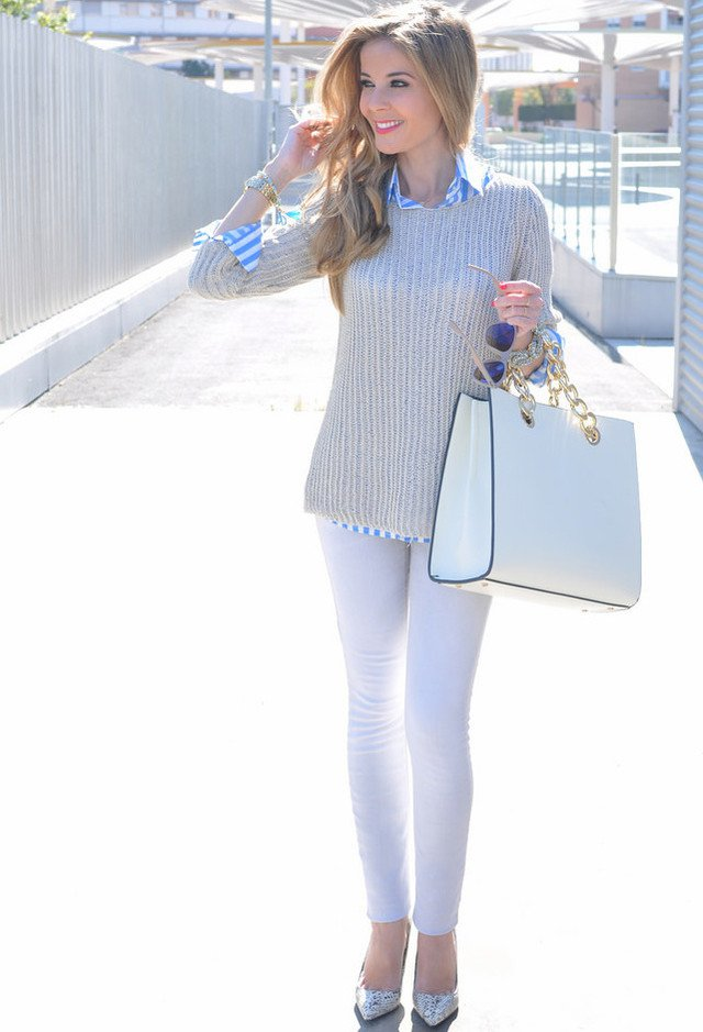Beautiful Outfit Idea with Silver Shoes