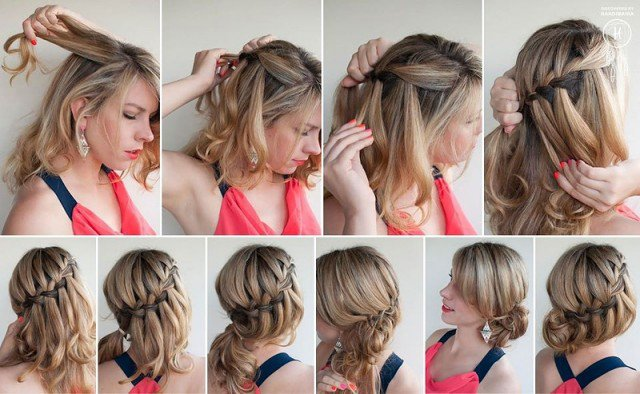 Beautiful Waterfall Braids Updo Hairstyle
