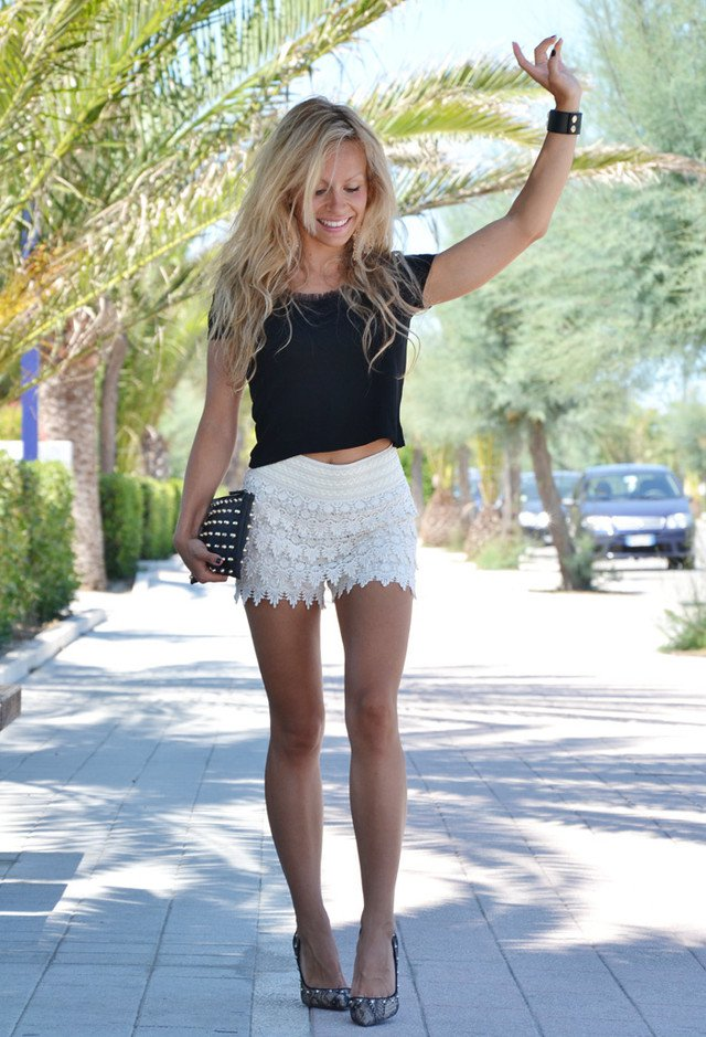 Black Crop Top with White Crochet Shorts