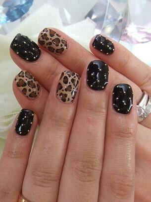 Black Embellished Leopard Nail Art Design