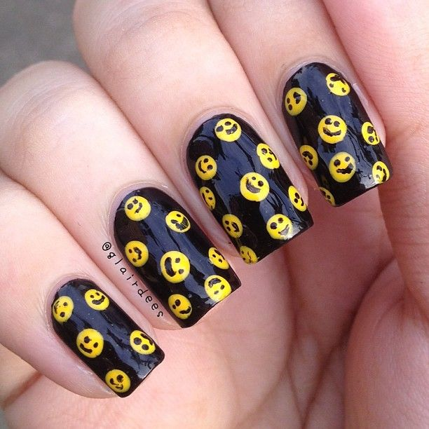 Black Happy Face Nail Design - 13 Super Cute Happy Face Nail Designs - Pretty Designs