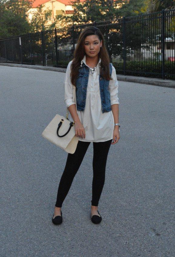 Black Jeans with Denim Vest