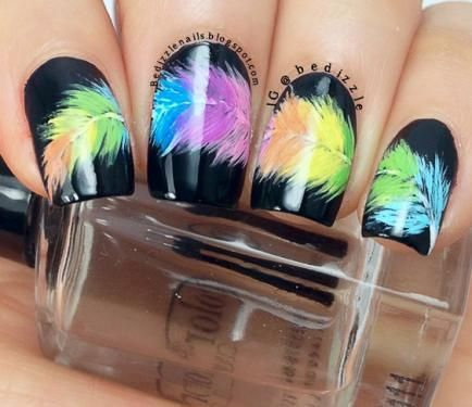 Black Rainbow Nail Art Design
