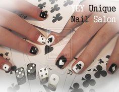 Black and White Card Nail Design