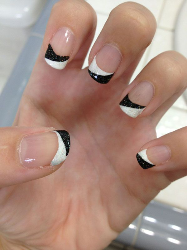 Black and White French Manicure Design