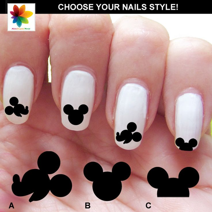 14 ingenious mickey mouse nail art designs pretty designs black and white mickey mouse nails prinsesfo Image collections