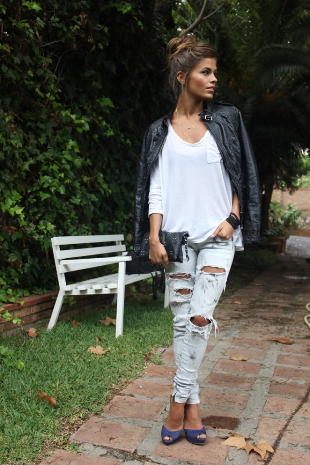 Black and White Outfit with Ripped Jeans