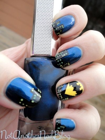 Blue Batman Nail Art Design