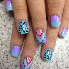 Blue Leopard Nail Art Design