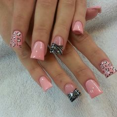 Blush Polish Leopard Nail Art Design
