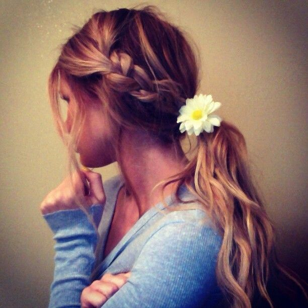 Braided Ponytail with a Flower
