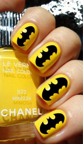 Bright Colored Batman Nail Art Design