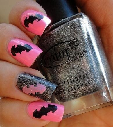 Bright Pink Batman Nail Art Design