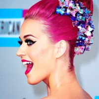 Bright Pink Colored Top Knot - Katy Perry Hairstyles
