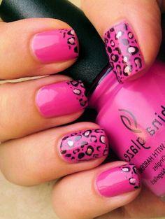 Bright Pink Leopard Nail Art Design