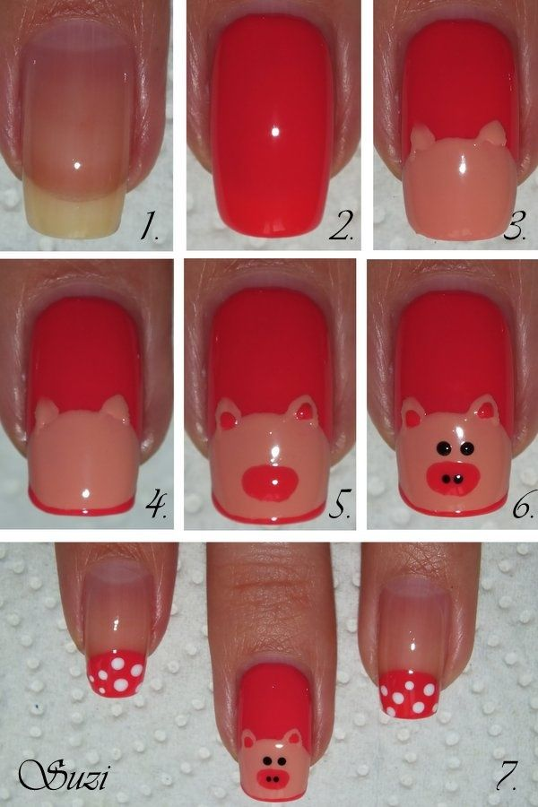 Cute Pig Nail Art Designs : Pretty and cute pig nails for girls designs