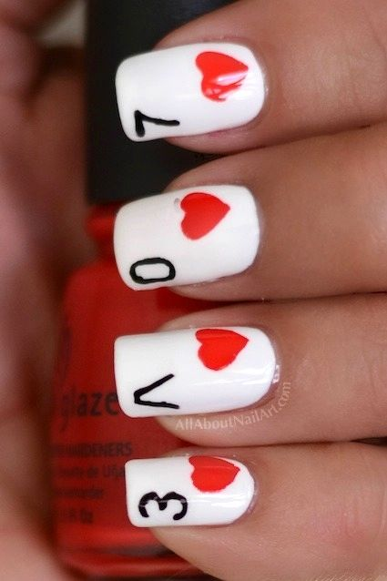 Card Nail Design for Valentine's Day