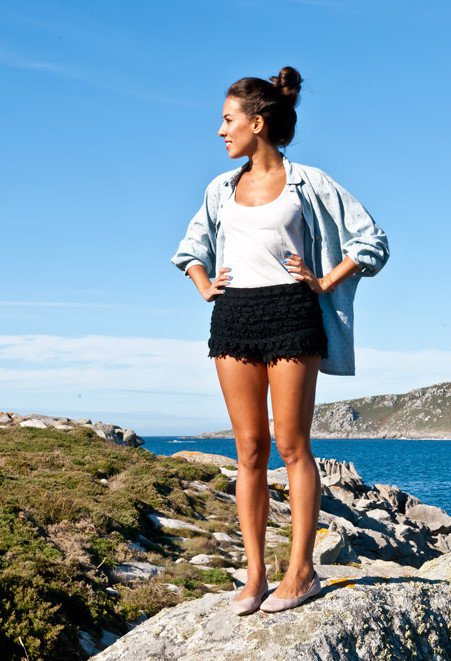 Casual Outfit Idea with Crochet Shorts