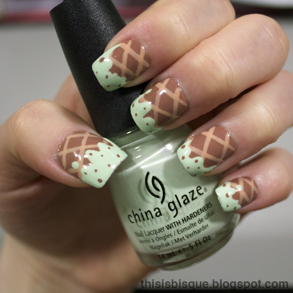 Checked Chocolate Nail Design