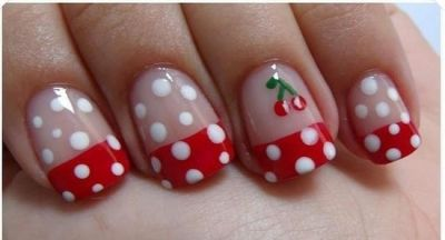 Cherry Nail Design for French Manicure - 14 Lovely Cherry Nail Art Designs - Pretty Designs