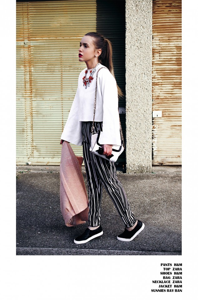 Chic White Outfit Idea with Stripe Pants