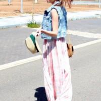 Chiffon Dress Outfit Idea with Denim Vest