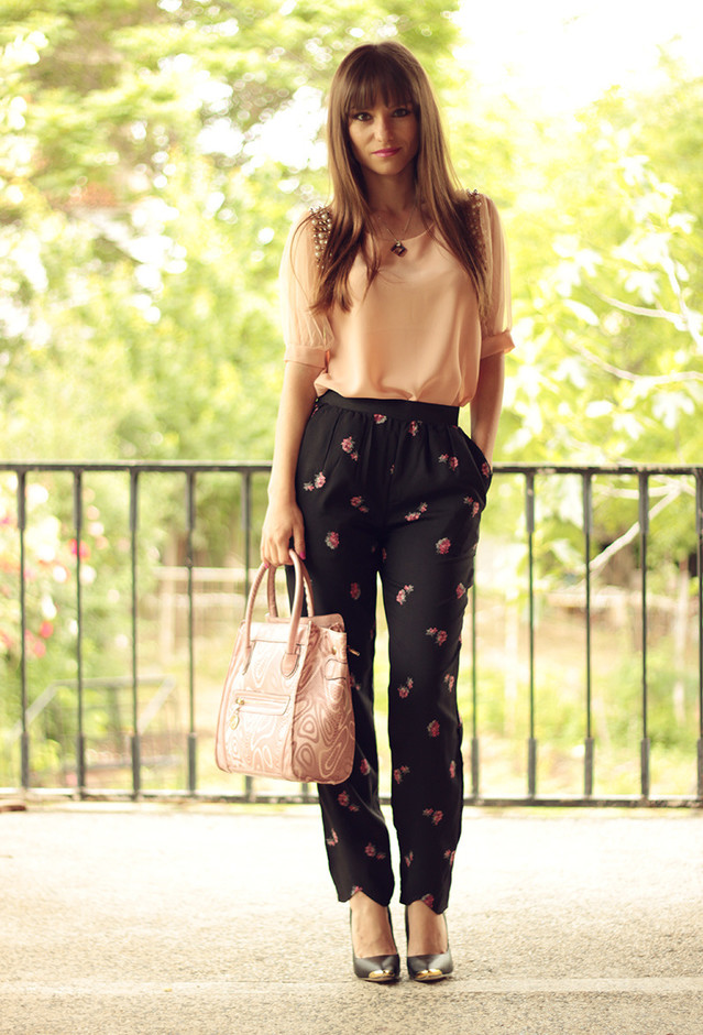 Chiffon Top and Floral Pants for Work