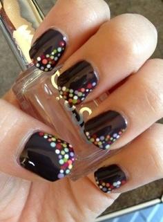 Chocolate Nail Design With Polka Dots