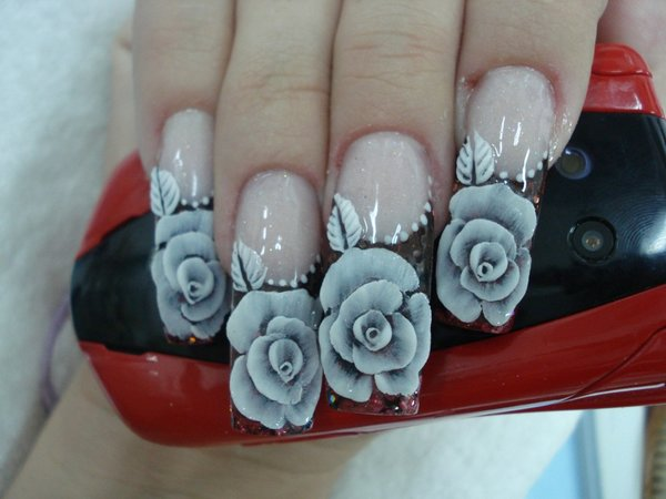 Clear Nails With Painted White Roses
