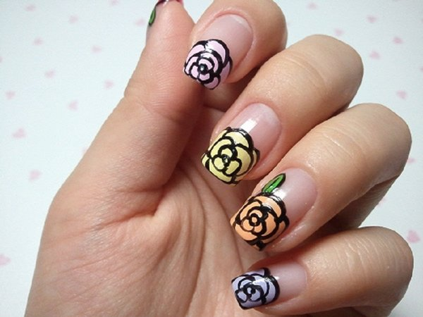 Clear Nails With Red Roses
