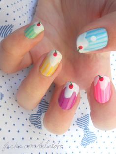 Colorful Cherry Nail Design