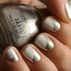 Cool White and Silver Nail Design