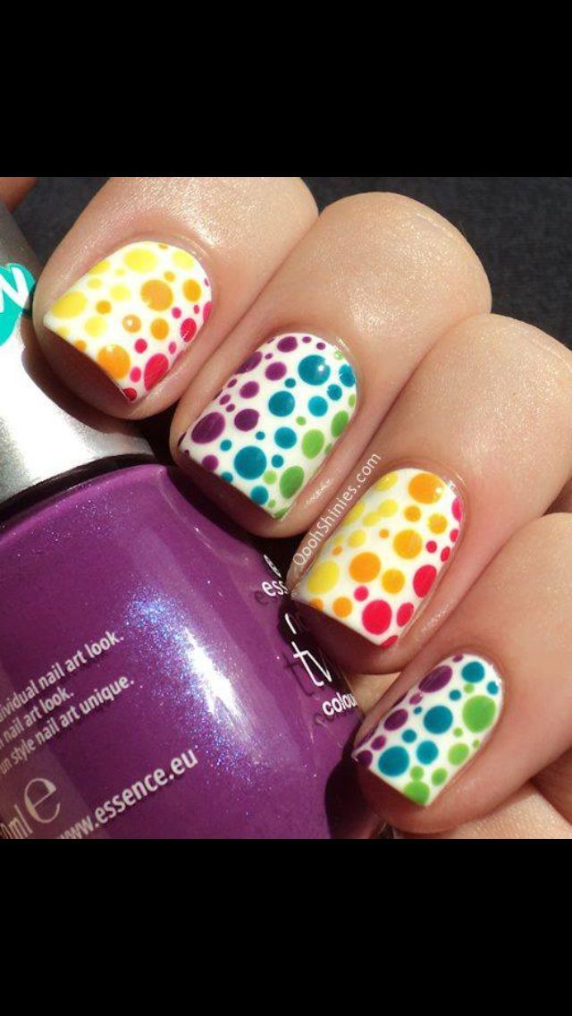 Dotted Rainbow Nail Art Design