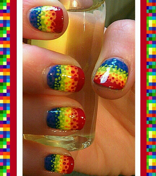 Dotted Rainbow Nail Art Design