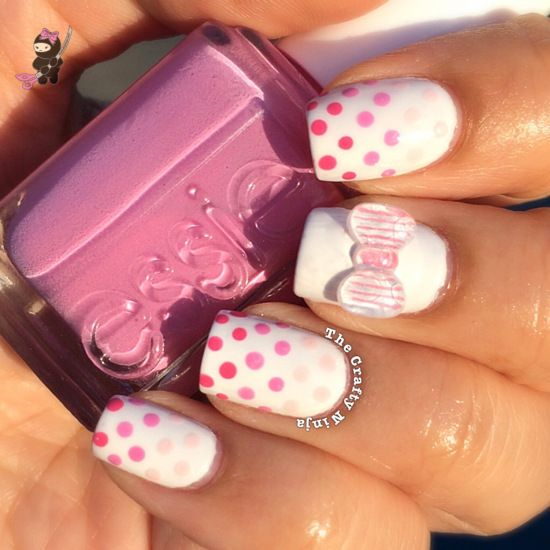 Dotted and Pink Bow Nail Design