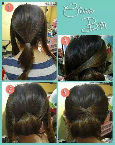 Easy Cross Bun Hairstyle Tutorial