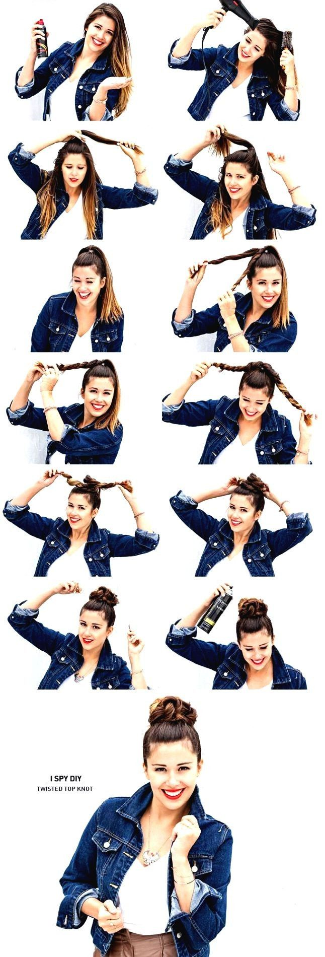 Easy Twisted Top Bun Hairstyle Tutorial