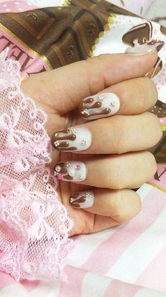 Embellished Chocolate Nail Design