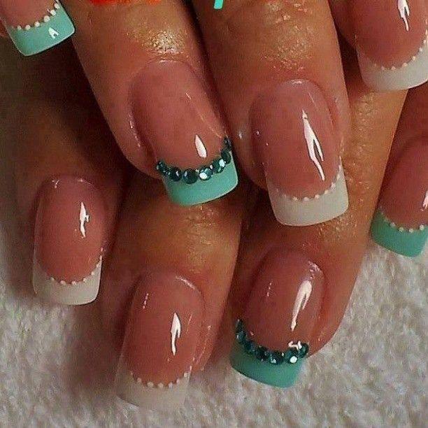 Embellished French Manicure Design