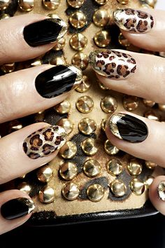 Embellished Leopard Nail Art Design