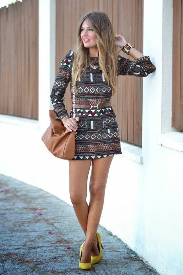 Fabulous Printed Dress Outfit Idea