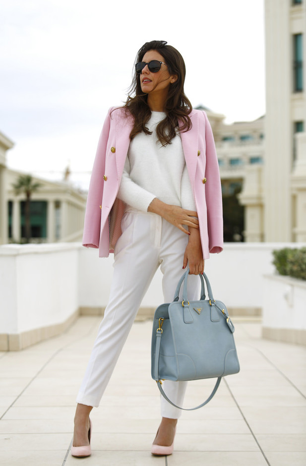 Feminine White Outfit with Pink Blazer for Work