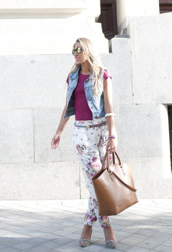 Stripe Outfit Idea with Denim Vest