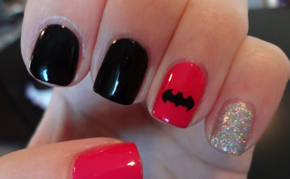 Glittering Batman Nail Art Design