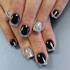 18 fantastic silver nail designs pretty designs glittering black and silver nail design prinsesfo Gallery